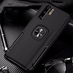 Coque Silicone Gel Motif Cuir Housse Etui avec Support Bague Anneau Aimante Magnetique T05 pour Huawei P30 Pro Noir
