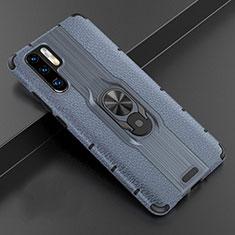 Coque Silicone Gel Motif Cuir Housse Etui avec Support Bague Anneau Aimante Magnetique T06 pour Huawei P30 Pro Bleu