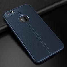 Coque Silicone Gel Motif Cuir Housse Etui D01 pour Apple iPhone 6 Bleu