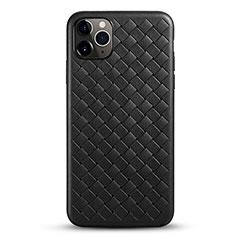 Coque Silicone Gel Motif Cuir Housse Etui G01 pour Apple iPhone 11 Pro Max Noir