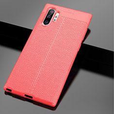 Coque Silicone Gel Motif Cuir Housse Etui G01 pour Samsung Galaxy Note 10 Plus 5G Rouge