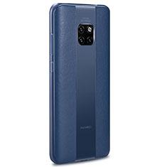 Coque Silicone Gel Motif Cuir Housse Etui H01 pour Huawei Mate 20 RS Bleu