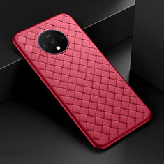 Coque Silicone Gel Motif Cuir Housse Etui H01 pour OnePlus 7T Rouge