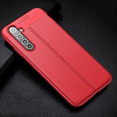 Coque Silicone Gel Motif Cuir Housse Etui H01 pour Realme X50 Pro 5G Rouge
