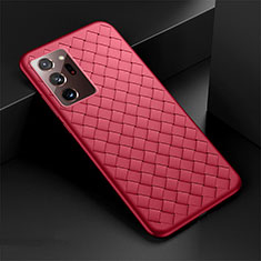 Coque Silicone Gel Motif Cuir Housse Etui H01 pour Samsung Galaxy Note 20 Ultra 5G Rouge