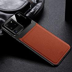 Coque Silicone Gel Motif Cuir Housse Etui H01 pour Samsung Galaxy S20 Ultra 5G Marron