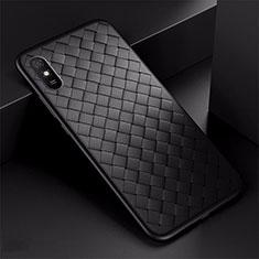 Coque Silicone Gel Motif Cuir Housse Etui H01 pour Xiaomi Redmi 9A Noir