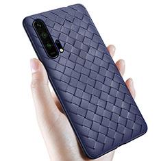 Coque Silicone Gel Motif Cuir Housse Etui H02 pour Huawei Honor 20 Pro Bleu