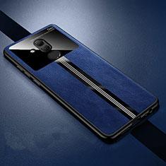 Coque Silicone Gel Motif Cuir Housse Etui H02 pour Huawei Mate 20 Lite Bleu