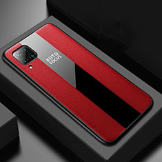 Coque Silicone Gel Motif Cuir Housse Etui H02 pour Huawei P40 Lite Rouge