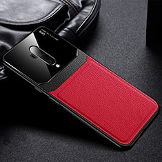 Coque Silicone Gel Motif Cuir Housse Etui H02 pour OnePlus 7T Pro Rouge