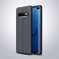 Coque Silicone Gel Motif Cuir Housse Etui H02 pour Samsung Galaxy S10 Plus Bleu