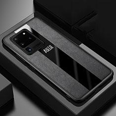 Coque Silicone Gel Motif Cuir Housse Etui H02 pour Samsung Galaxy S20 Ultra 5G Noir