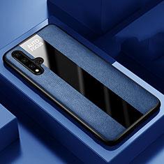Coque Silicone Gel Motif Cuir Housse Etui H03 pour Huawei Honor 20 Bleu