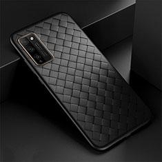 Coque Silicone Gel Motif Cuir Housse Etui H03 pour Huawei Honor 30 Lite 5G Noir