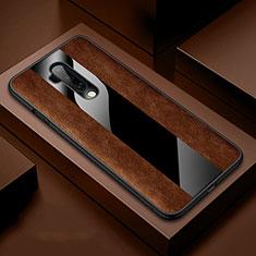 Coque Silicone Gel Motif Cuir Housse Etui H03 pour OnePlus 7T Pro Marron