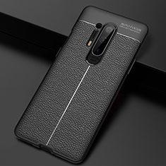 Coque Silicone Gel Motif Cuir Housse Etui H03 pour OnePlus 8 Pro Noir