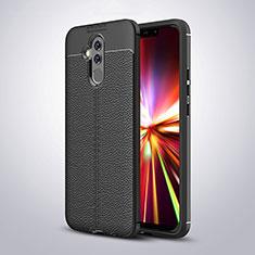 Coque Silicone Gel Motif Cuir Housse Etui H04 pour Huawei Mate 20 Lite Noir