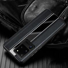 Coque Silicone Gel Motif Cuir Housse Etui H04 pour Samsung Galaxy S20 Ultra Noir