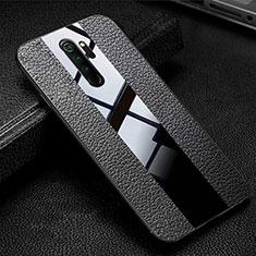 Coque Silicone Gel Motif Cuir Housse Etui H04 pour Xiaomi Redmi Note 8 Pro Noir