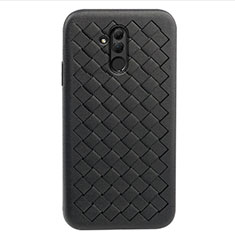 Coque Silicone Gel Motif Cuir Housse Etui H05 pour Huawei Mate 20 Lite Noir