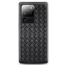 Coque Silicone Gel Motif Cuir Housse Etui H05 pour Samsung Galaxy S20 Ultra 5G Noir