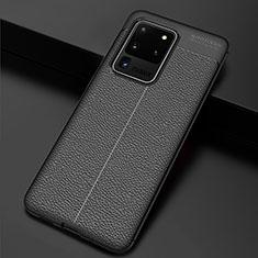 Coque Silicone Gel Motif Cuir Housse Etui H06 pour Samsung Galaxy S20 Ultra 5G Noir