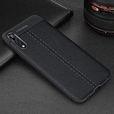 Coque Silicone Gel Motif Cuir Housse Etui H07 pour Huawei P20 Pro Noir