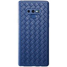 Coque Silicone Gel Motif Cuir Housse Etui L01 pour Samsung Galaxy Note 9 Bleu