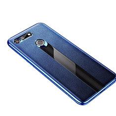 Coque Silicone Gel Motif Cuir Housse Etui M01 pour Huawei Honor V20 Bleu