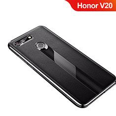 Coque Silicone Gel Motif Cuir Housse Etui M01 pour Huawei Honor V20 Noir