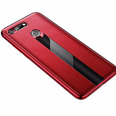Coque Silicone Gel Motif Cuir Housse Etui M01 pour Huawei Honor V20 Rouge