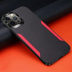 Coque Silicone Gel Motif Cuir Housse Etui N01 pour Apple iPhone 12 Pro Noir