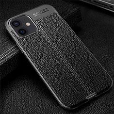Coque Silicone Gel Motif Cuir Housse Etui pour Apple iPhone 12 Noir