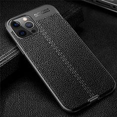 Coque Silicone Gel Motif Cuir Housse Etui pour Apple iPhone 12 Pro Noir