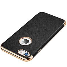 Coque Silicone Gel Motif Cuir Housse Etui pour Apple iPhone 8 Noir