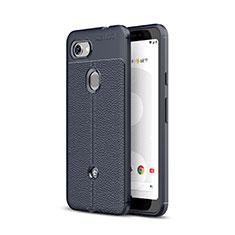 Coque Silicone Gel Motif Cuir Housse Etui pour Google Pixel 3a Bleu