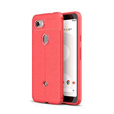 Coque Silicone Gel Motif Cuir Housse Etui pour Google Pixel 3a XL Rouge