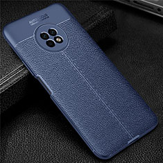 Coque Silicone Gel Motif Cuir Housse Etui pour Huawei Enjoy 20 Plus 5G Bleu