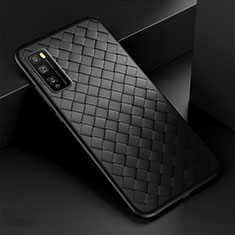 Coque Silicone Gel Motif Cuir Housse Etui pour Huawei Enjoy 20 Pro 5G Noir