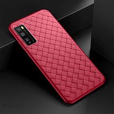 Coque Silicone Gel Motif Cuir Housse Etui pour Huawei Enjoy 20 Pro 5G Rouge