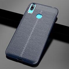 Coque Silicone Gel Motif Cuir Housse Etui pour Huawei Enjoy 9 Bleu