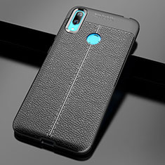 Coque Silicone Gel Motif Cuir Housse Etui pour Huawei Enjoy 9 Noir