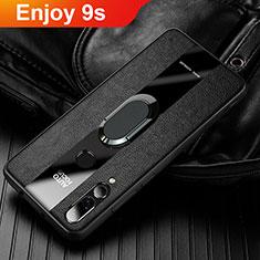 Coque Silicone Gel Motif Cuir Housse Etui pour Huawei Enjoy 9s Noir