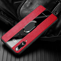 Coque Silicone Gel Motif Cuir Housse Etui pour Huawei Enjoy 9s Rouge