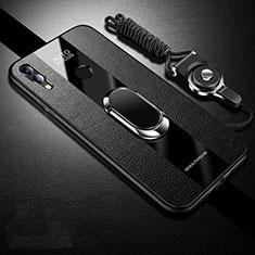 Coque Silicone Gel Motif Cuir Housse Etui pour Huawei Honor 10 Lite Noir