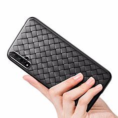 Coque Silicone Gel Motif Cuir Housse Etui pour Huawei Honor 20 Noir