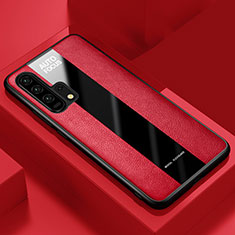 Coque Silicone Gel Motif Cuir Housse Etui pour Huawei Honor 20 Pro Rouge