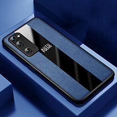 Coque Silicone Gel Motif Cuir Housse Etui pour Huawei Honor 30 Lite 5G Bleu
