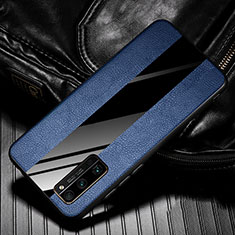Coque Silicone Gel Motif Cuir Housse Etui pour Huawei Honor 30 Pro Bleu